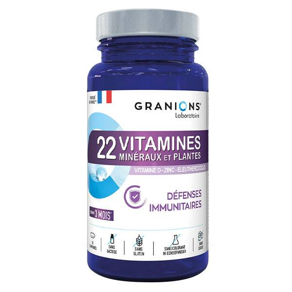 Laboratoire des Granions Granions 22 Vitamines Minéraux et Plantes Défenses Immunitaires 90 comprimés