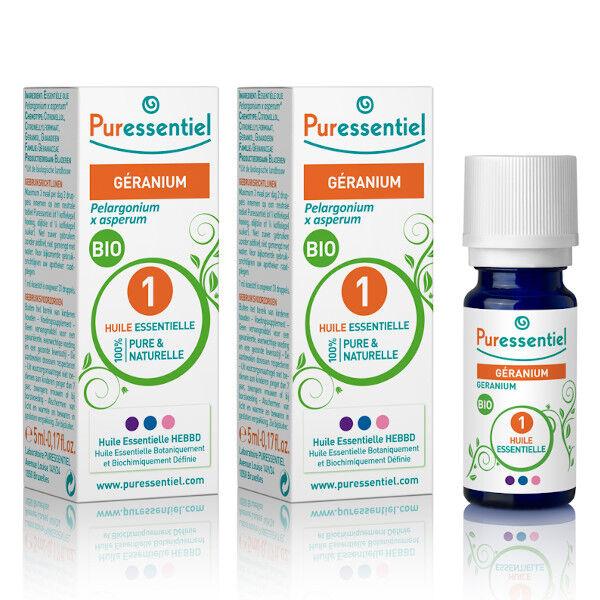 Puressentiel Huile Essentielle Géranium Bio Lot de 2 x 5ml