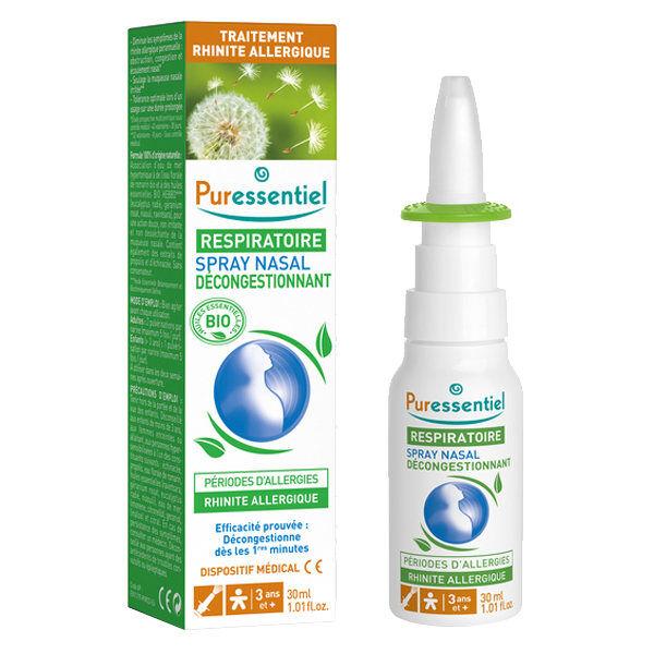 Puressentiel Respiratoire Spray Nasal Décongestionnant Allergies aux Huiles Essentielles Bio 30ml