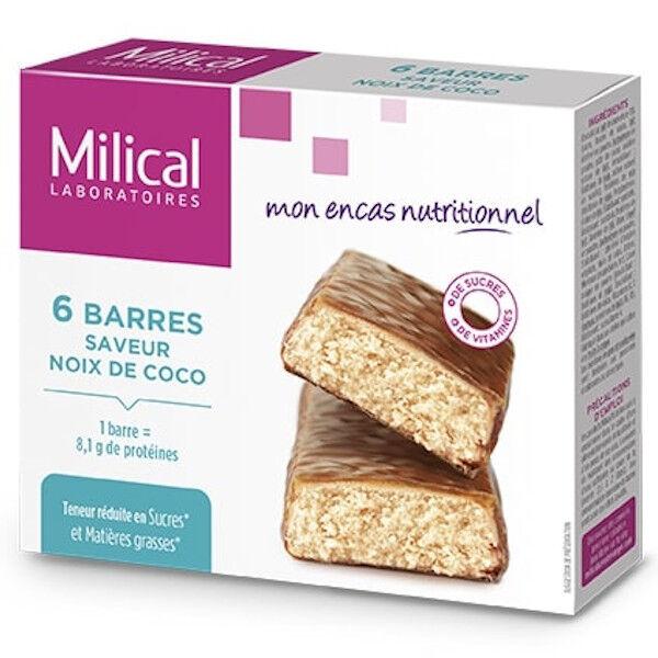 Milical Barres Minceur Hyperprotéinées Noix de Coco 6 unités