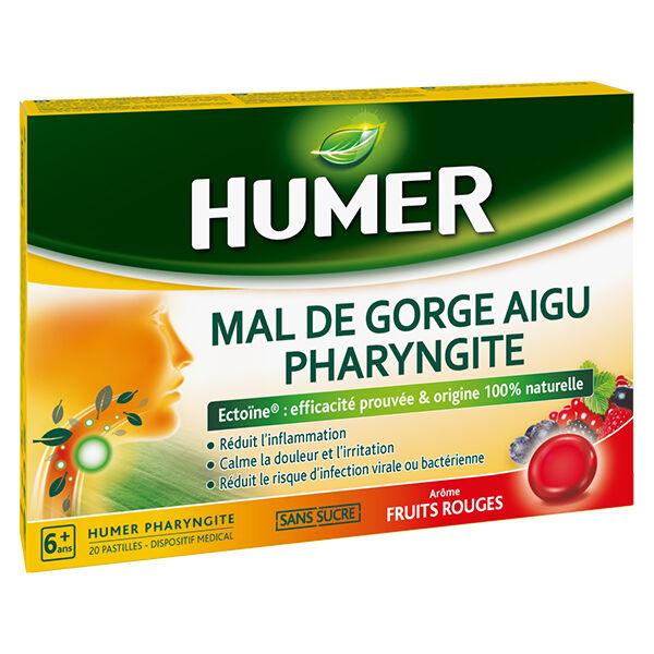 Urgo Humer Mal de Gorge Aigu Pharyngite Fruits Rouge 20 pastilles