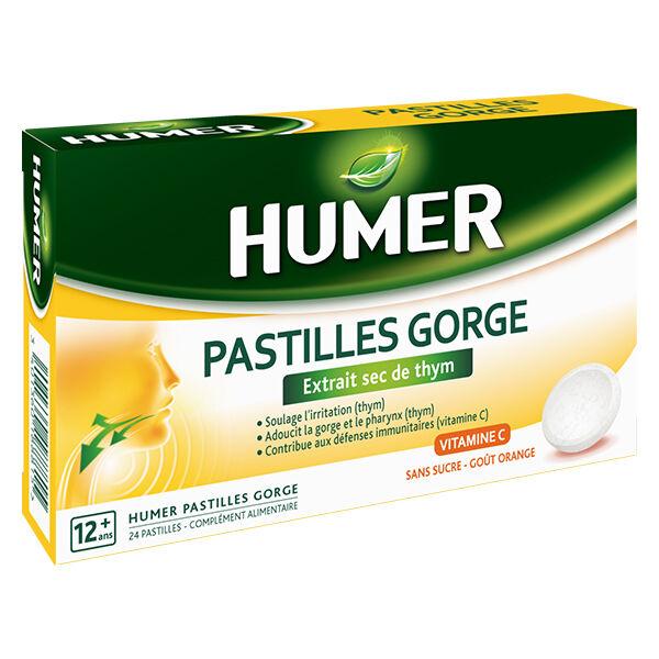 Humer Pastilles Gorge Thym Goût Orange 24 pastilles