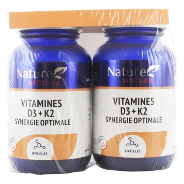 Nature Attitude Vitamines D3 + K2 Lot de 2 x 60 gélules