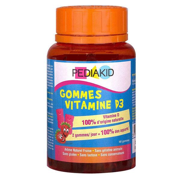 Pediakid Gommes Vitamine D3 Goût Fraise 60 oursons