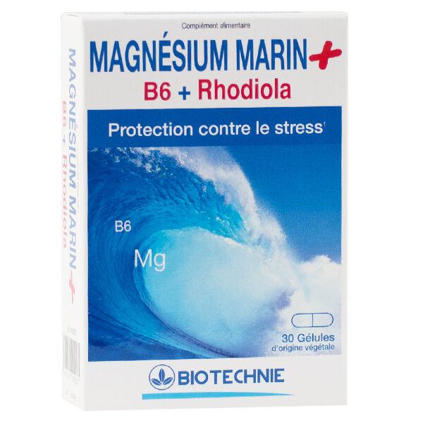 Biotechnie Magnésium Marin+B6+Rhodiola 30 Gélules