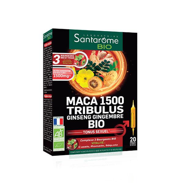 Santarome Bio Maca 1500 Tribulus Ginseng Gingembre 20 ampoules