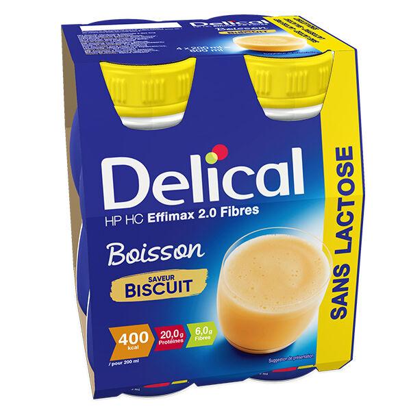 Delical Boisson HP HC Effimax 2.0 Fibres sans Lactose Biscuit Lot de 4 x 200ml