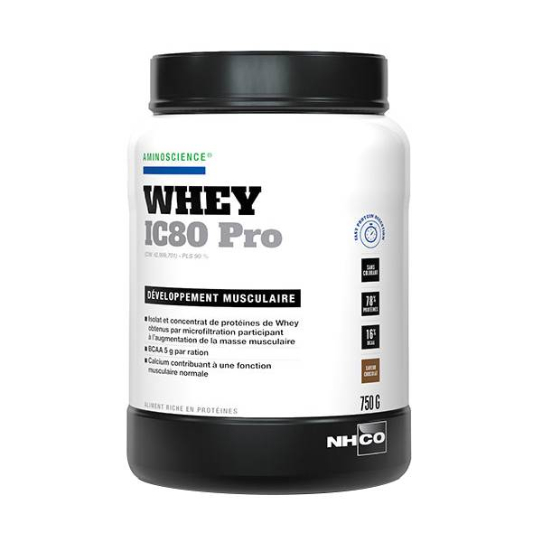 Nhco Whey IC80 Pro Développement Musculaire Chocolat 750g