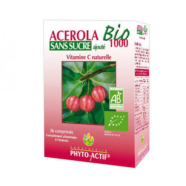 Phyto-Actif Phytoactif Acérola 1000 Bio sans Sucre 26 comprimés