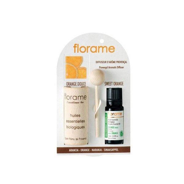 Florame Aromathérapie Diffuseur d'Arôme + Huile Essentielle Orange Bio 10ml