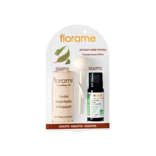 Florame Aromathérapie Diffuseur d'Arôme + Huile Essentielle Eucalyptus Bio 10ml