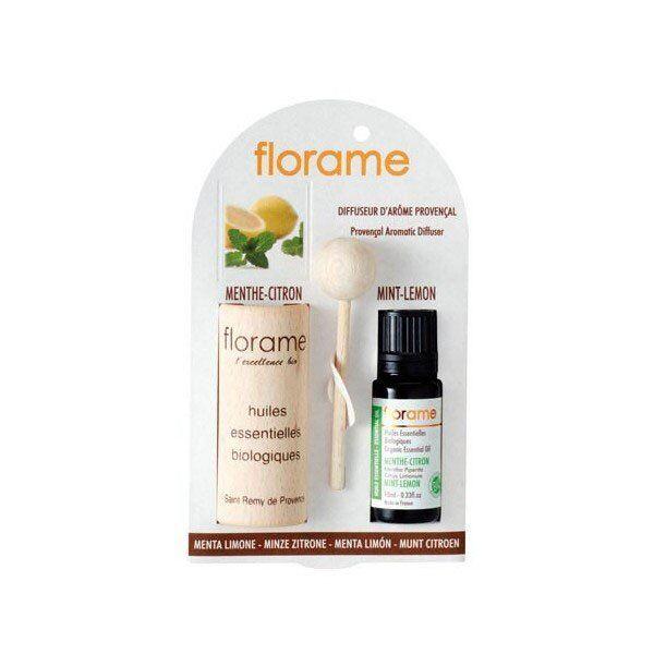 Florame Aromathérapie Diffuseur d'Arôme + Huile Essentielle Menthe-Citron Bio 10ml