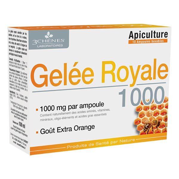 Les 3 Chenes Les 3 Chênes Gelée Royale 1000 Goût Extra Orange 10 ampoules