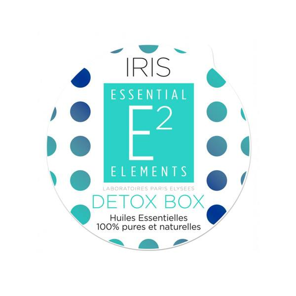 E2 Essential Elements Aromabox Detox Box aux 25 Huiles Essentielles pour Diffuseur Iris 3 capsules