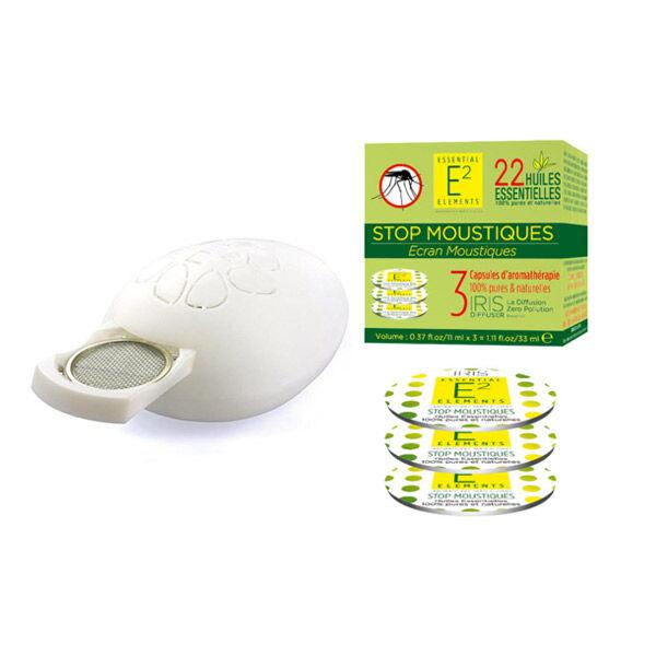 E2 Essential Elements Aromabox Stop Moustiques Box aux 22 Huiles Essentielles Pour Diffuseur Iris 3 Capsules