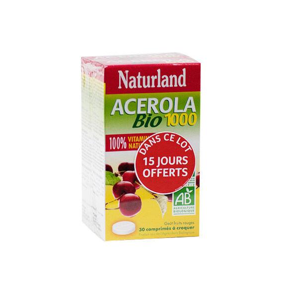 Naturland Acérola Bio 1000 Lot de 2 x 30 comprimés à croquer