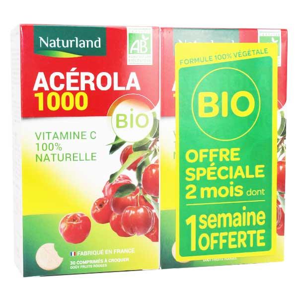 Naturland Acérola 1000 Bio Lot de 2 x 30 comprimés à croquer
