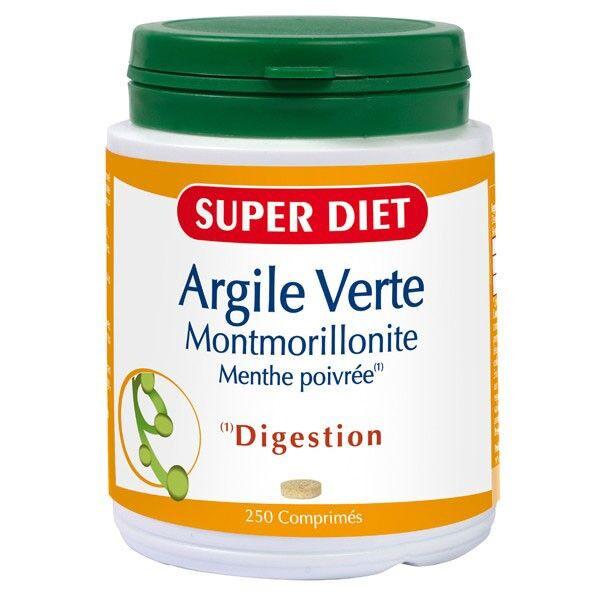 SuperDiet Super Diet Argile Verte Montmorillonite - Menthe Poivrée 250 comprimés