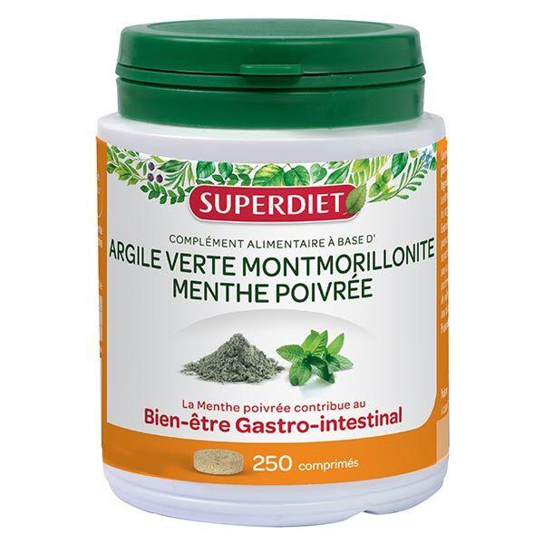 SuperDiet Super Diet Argile Verte Montmorillonite Menthe Poivrée 250 comprimés