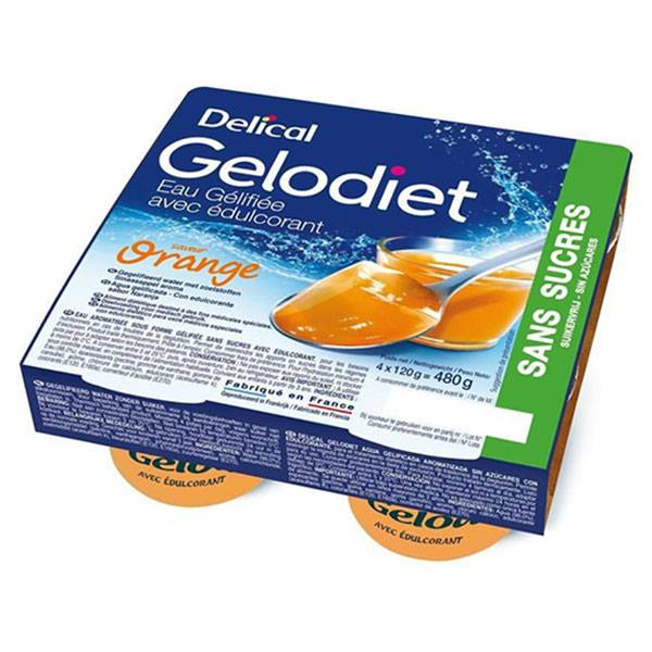 Delical Gelodiet Eau Gélifiée Edulcorée sans Sucres Orange 4 x 120g