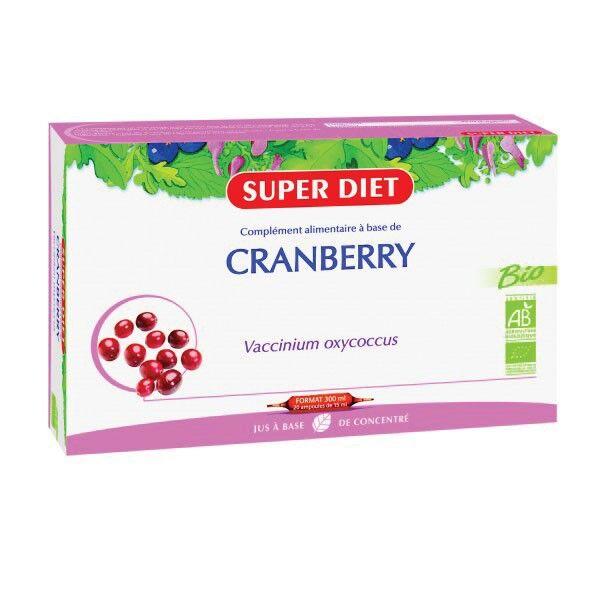 Superdiet Cranberry Canneberge Bio 20 ampoules de 15ml