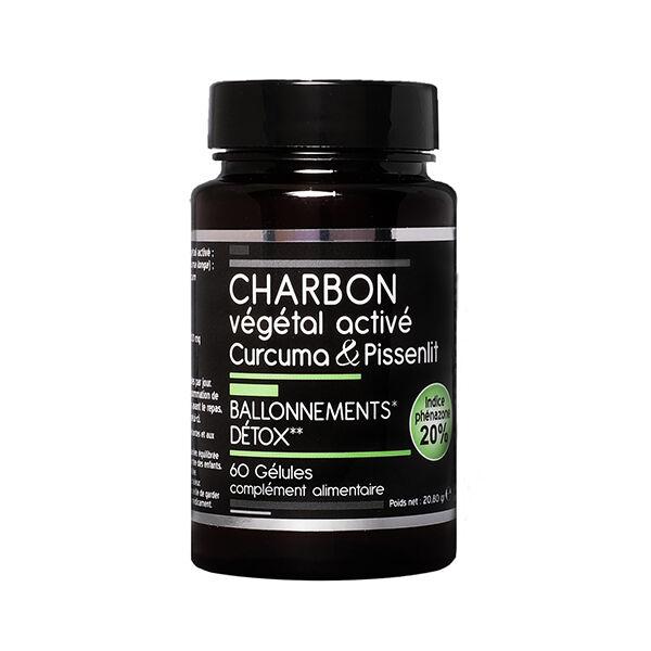 Nutrivie Charbon Végétal Activé Curcuma et Pissenlit Végan 60 gélules
