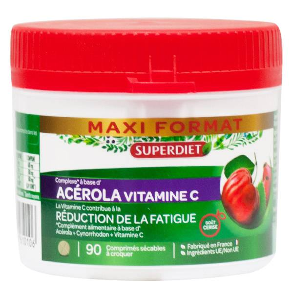 Super Diet Maxi Pot Acérola Vitamine C 90 comprimés sécables à croquer