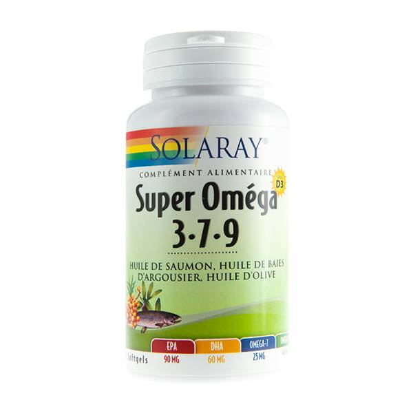 Solaray Super Oméga 3-7-9 + Vitamine D 60 gélules