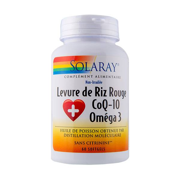 Solaray Levure de Riz Rouge + Co Q10 + Oméga 3 60 gélules
