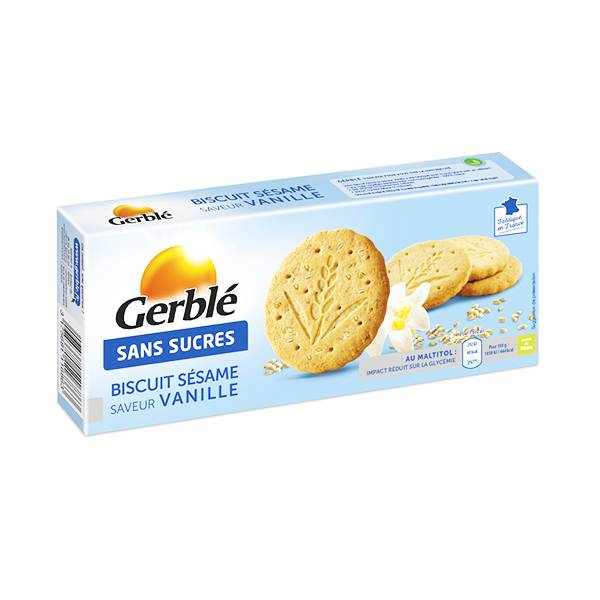 Gerblé Sans Sucres Biscuit Sésame Vanille 132g
