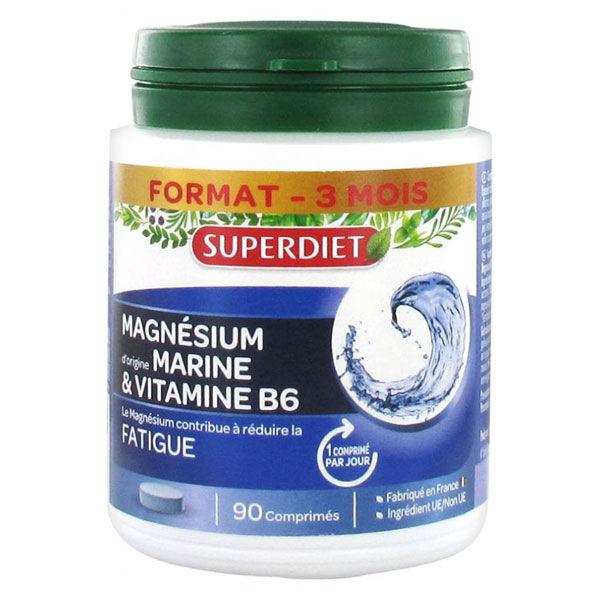 SuperDiet Super Diet Magnesium d'Origine Marine et Vitamine B6 90 comprimés