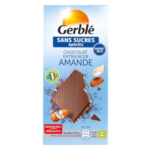 Gerblé Sans Sucres Ajoutés Chocolat Extra Noir Amande 80g