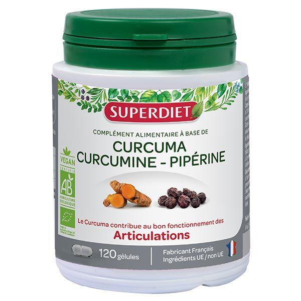 Superdiet Articulations Bio Curcuma Curcumine Piperine 120 gélules