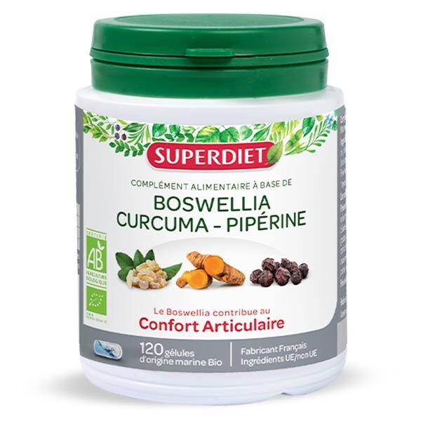 Superdiet Boswellia Curcuma Pipérine Bio 120 gélules