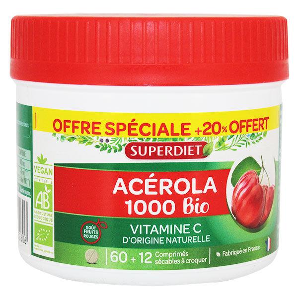 Superdiet Maxi Pot Acérola 1000 Bio - 60 comprimés à croquer +20% Offert