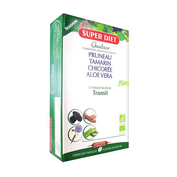 Super Diet Quatuor Transit Bio Pruneau Tamarin Chicorée Aloe Vera 20 ampoules
