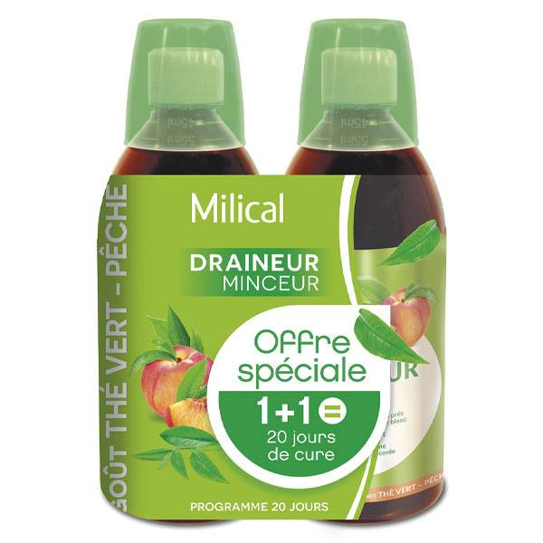 Milical Draineur Ultra Goût Thé Vert Lot de 2 x 500ml