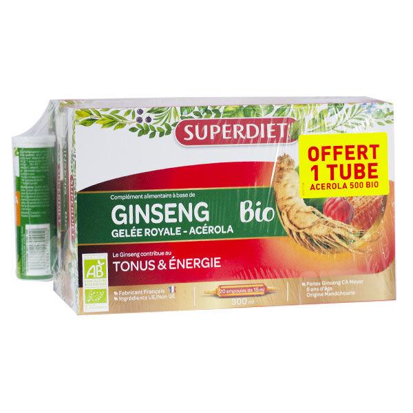 Superdiet Ginseng Gelée Royale Acérola Bio Lot de 2 x 20 ampoules + 1 tube Acérola 500 Bio Offert