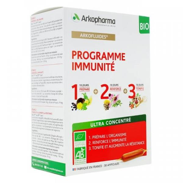 Arkopharma Arkofluides Programme Immunité Bio 20 ampoules