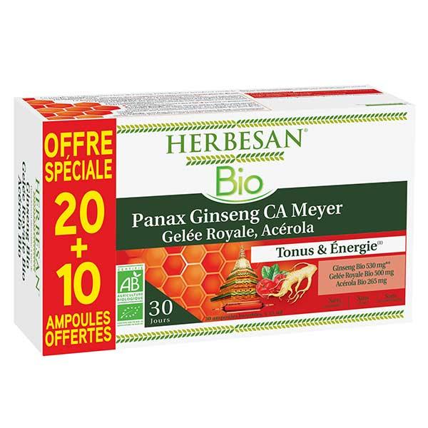 Herbesan Ginseng Gelée Royale Acérola Bio 20 ampoules + 10 Offertes