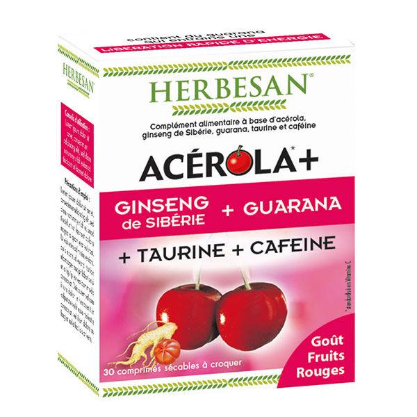 Herbesan Acerola + Ginseng Guarana Taurine Caféine 30 comprimés à croquer