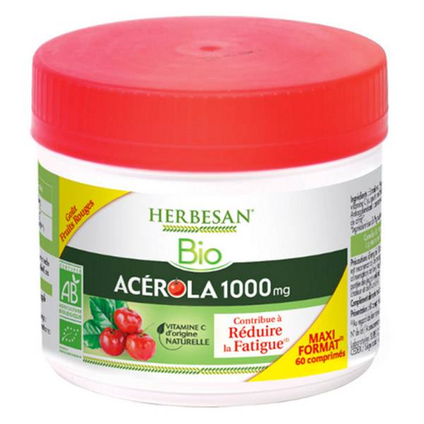 Herbesan Acerola Bio 1000 Maxi Pot 60 comprimés à croquer