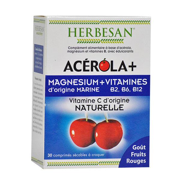 Herbesan Acerola + Magnésium Fruits Rouges 30 comprimés à croquer