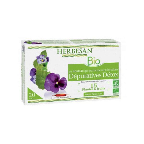 Herbesan Bouleau Détox Bio 20 ampoules