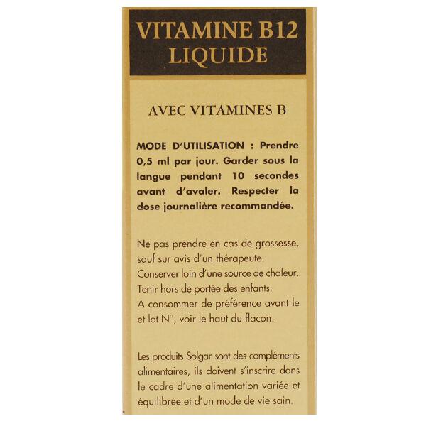 Solgar Vitamine B12 Liquide avec Vitamines B 59ml