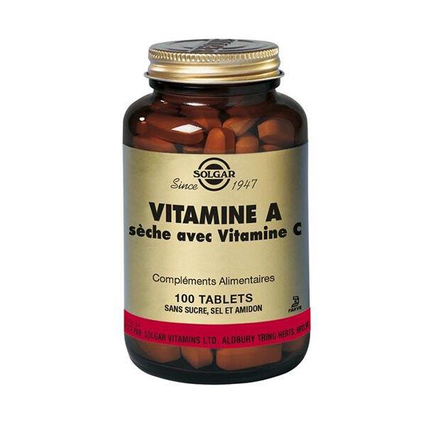 Solgar Vitamine A Sèche avec Vitamine C 100 comprimés