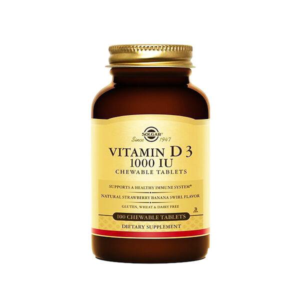 Solgar Vitamine D3 1000 UI 100 comprimés à croquer