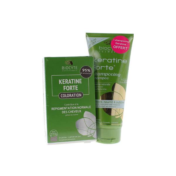 Biocyte Kératine Forte Coloration 60 gélules + Shampooing 200ml Offert
