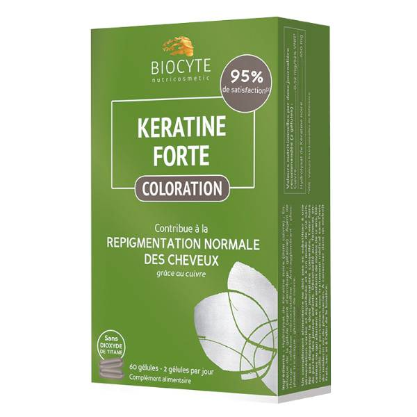 Biocyte Kératine Forte Coloration 60 gélules + Shampooing 200ml Offert