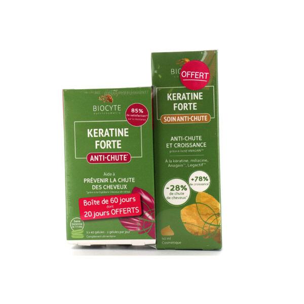 Biocyte Kératine Forte Anti Chute Lot Eco 120 gélules + Soin Anti Chute 50ml Offert